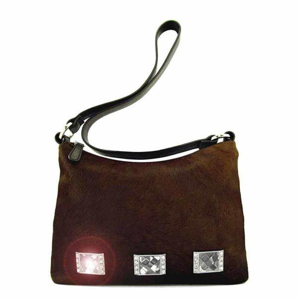 сумка женская из натуральной шерсти и кожи Ohh! Ashley коричневая