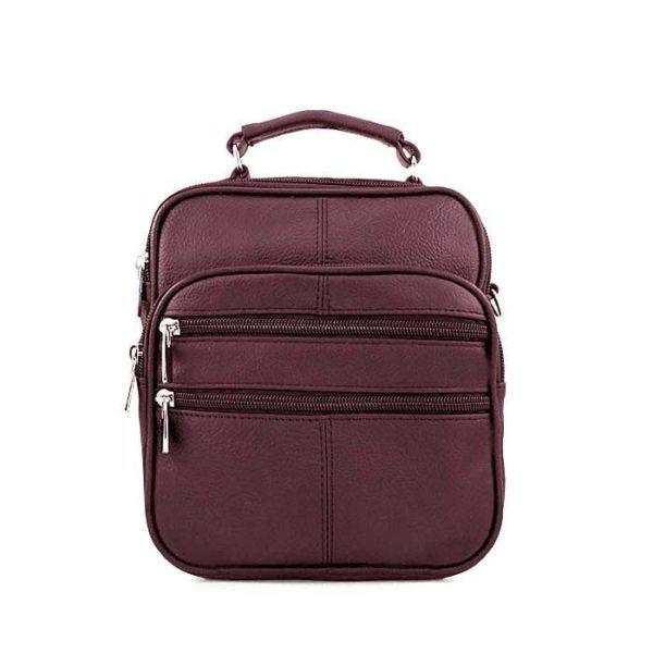 барсетка сумка кожаная для мужчин бордовая