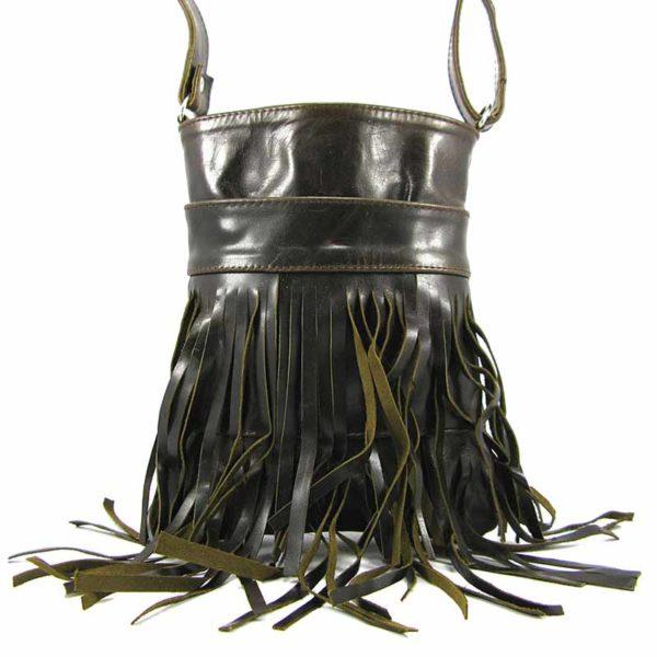 Сумка кожаная для женщин Companero темно-коричневая глянцевая