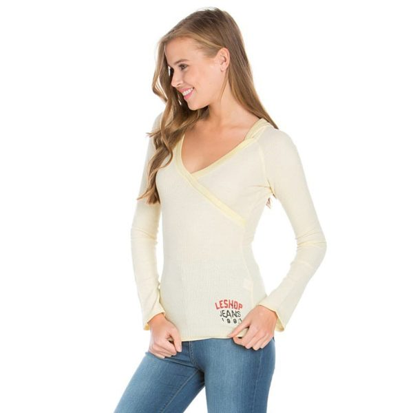 Блуза женская капюшон длинный рукав цвет банановый