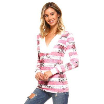Блуза женская капюшон длинный рукав полосатая